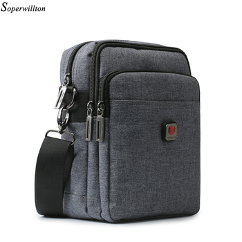 Soperwillton Men's Bag USB charging Shoulder Crossbody Bags Water-resistent Oxford Travel Bags Zipper Belt Bag Male #1042