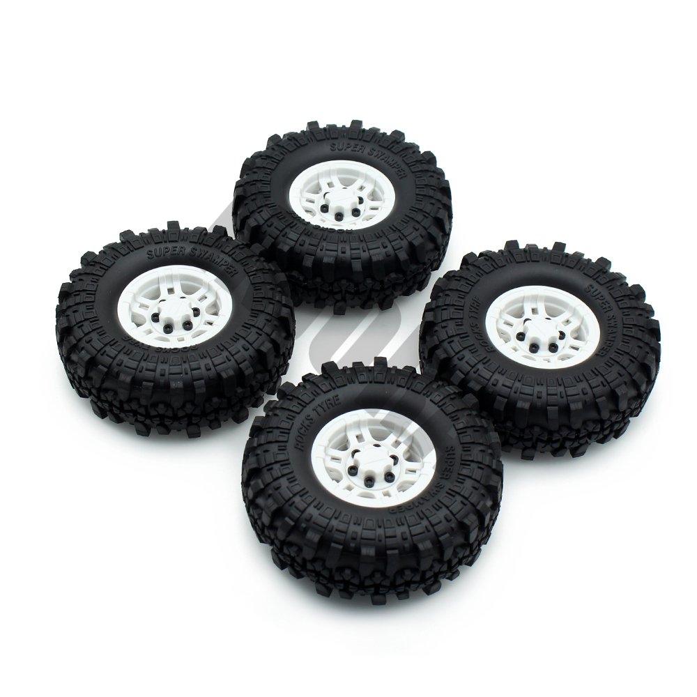 INJORA 1:10 RC Crawler 1.9 Inch Rubber Tires & Plastic Beadlock Wheel Rim for Axial SCX10 Tamiya CC01 D90 D110 TF2 mxfans rc 1 10 2 2 crawler car inflatable tires black alloy beadlock pack of 4