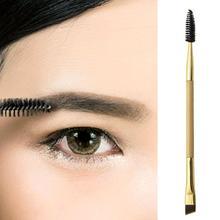 hot deal buy 1pcs double head eyebrow stencil  shaper makeup tools bamboo eyeliner eyebrow brush + eyebrow comb and makeup brush