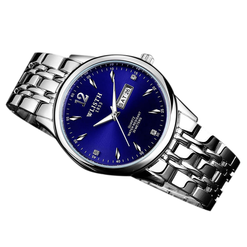 WLISTH 507 Men Watch Clock Date Quartz Wrist Watches Stainess Steel blue