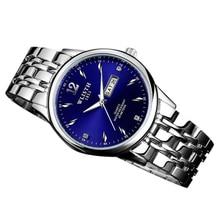 Wlisth 507 hommes montre horloge date bracelet à quartz montres stainess acier bleu