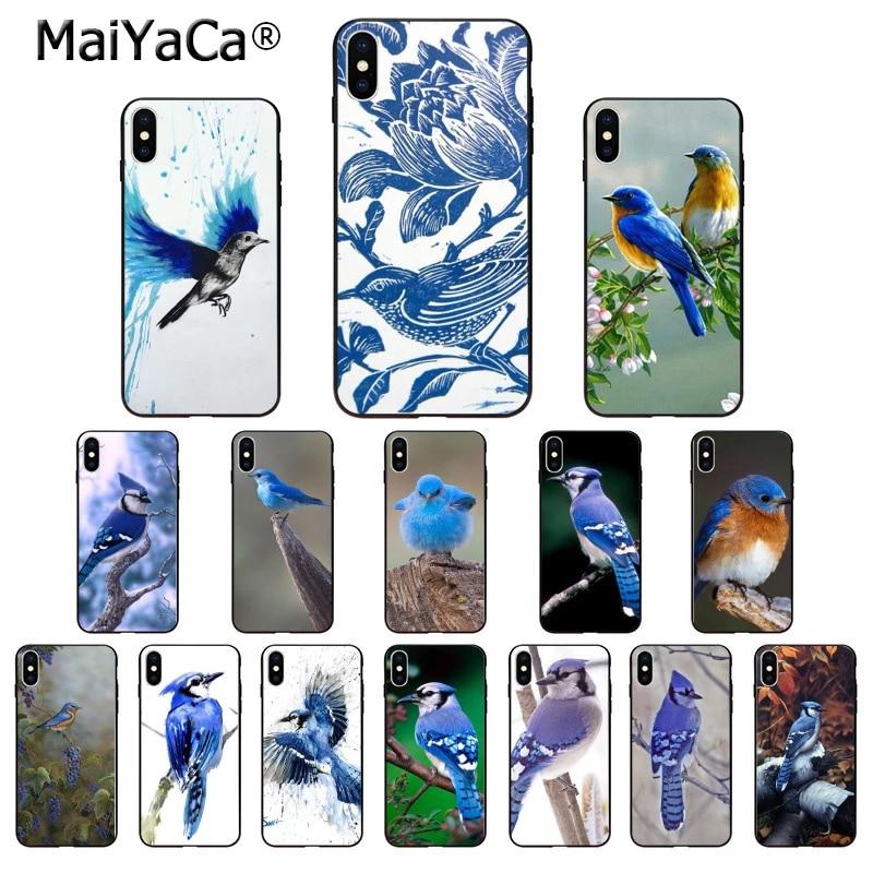 MaiYaCa – coque de téléphone Apple, étui de téléphone intelligent avec oiseau bleu, coque souple noire pour iPhone 8 7 6 6S Plus X XS MAX 5 5s SE XR