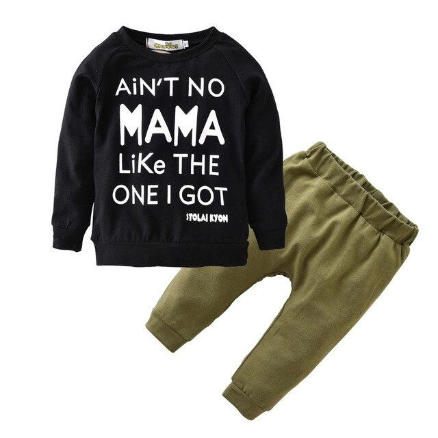 Quần Áo trẻ sơ sinh Mùa Thu 100% Cotton Dài Tay Áo Sơ Sinh Thư MAMA T-shirt + Quần Bé Trai Gái Toddler Quần Áo 2 Cái Outfits Set