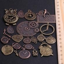10 Uds. Colgante de dos relojes de aleación de Zinc y Metal Vintage, abalorios Steampunk para hacer joyería Diy