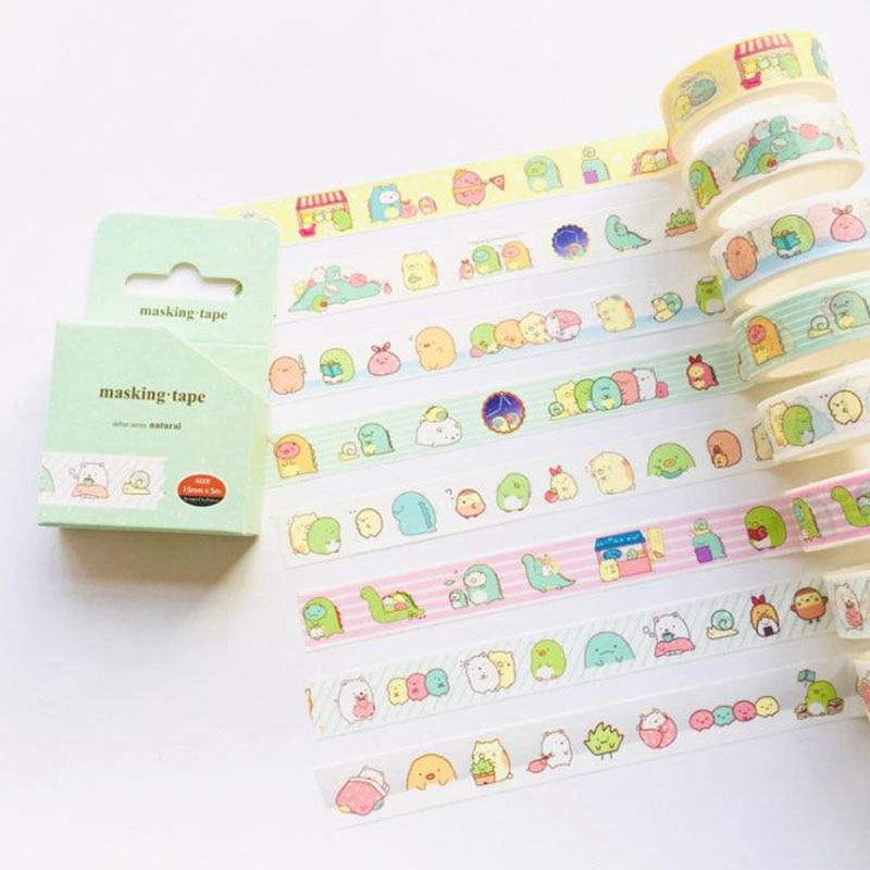 1 Pcs Cute 1.5cm Slim Wide Sumikko Gurashi Washi Tape Adhesive Tape DIY Scrapbooking Stationery Sticker Label Masking Tape