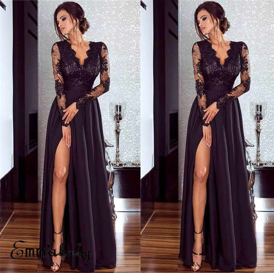 Fasion  Elegant Women Lace Long Sleeve Sexy V-Neck Evening Formal Party V-Neck Long  Dress