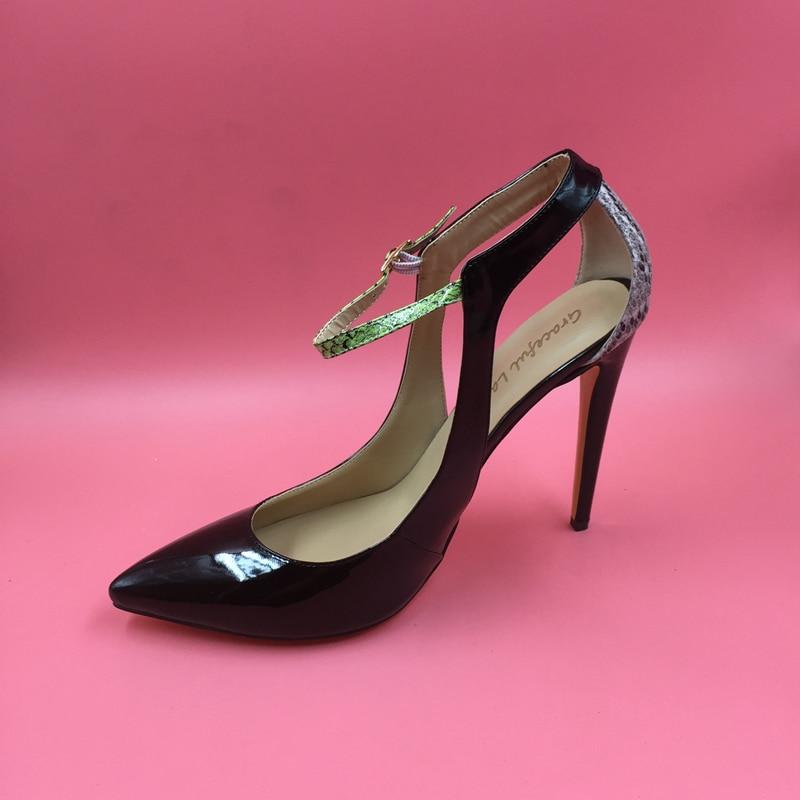 575646559e9 Actual Photo Pump Shoes Stilettos Black Patent Leather Women Pumps Ankle  Strap Pointed Toe High Heels Shoes Ladies Pump Shoes