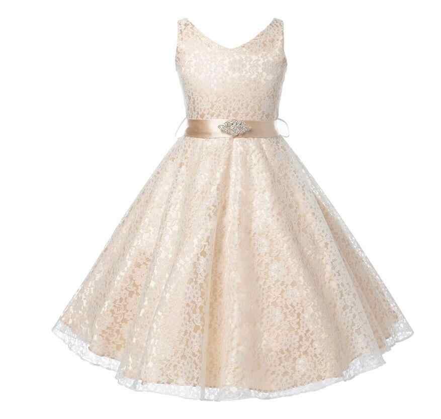 49239a846 Adolescente niñas boda de dama de honor vestidos encaje de flores para 2-16  años