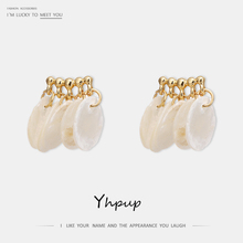 Yhpup Personality Boho Natural Round Shell Tassel Dangle Earring Copper S925 High Quality Brincos for Women Summer Beach Jewelry