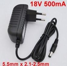 Adaptador conversor de alta qualidade ic soluções, 1 peça, 18v, 500ma, ac 100v-240v, dc 18v fonte de alimentação 5.5mm x 2.1-2.5mm 0.5a