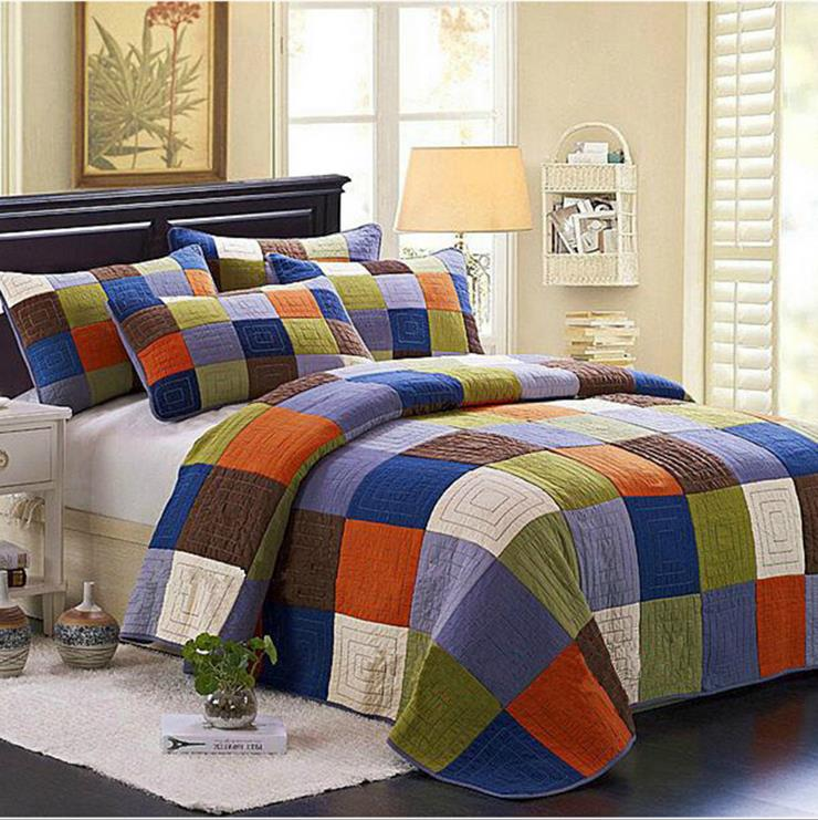 100% Cotton Europe Style patchwork Grid plaid Queen Size Bedspread 3pcs Bedding Sets Quilt/blanket Coverlet 230x250cm