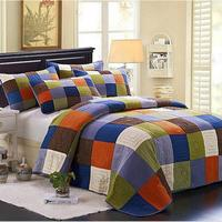 100 Cotton Europe Style Patchwork Grid Queen Size Bedspread 3pcs Bedding Sets Air Condition Quilt Blanket