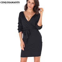 CINQ DIAMANTS Euro Style Women Office Dress Autumn Spring Sexy Prom Party Dress Casual Women Clothing Femme Robe Vestido Jurk