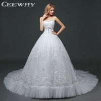 Big Wagging Tail Wedding Dress With Crystal Lace Gown Dress White Beautiful Elegant A Line Bridal