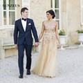 Lantejoulas De Ouro Frisado Vestidos de Casamento A-Line da Luva do Tampão de Tule Vestidos de Noiva Bling Longo robe de mariage SAU270