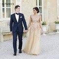 Lentejuelas Con Cuentas de Oro Vestidos de Novia A-Line de La Manga Casquillo de Tulle Bling Vestidos de Novia Largo robe de mariage SAU270