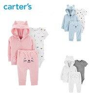 Carters 3Pcs Terry Little Jacket Set Cute cartoon baby boy clothes cardigan bodysuit pant newborn baby girl clothing 126H636