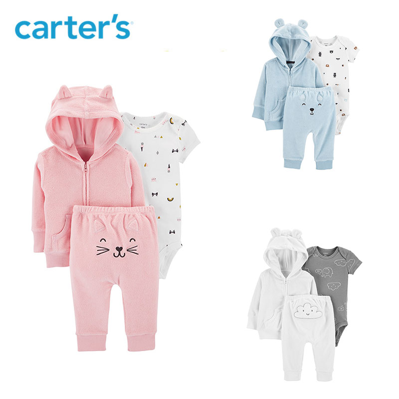 Carters 3Pcs Terry Little Jacket Set Cute cartoon baby boy clothes cardigan bodysuit pant newborn baby girl clothing 126H636