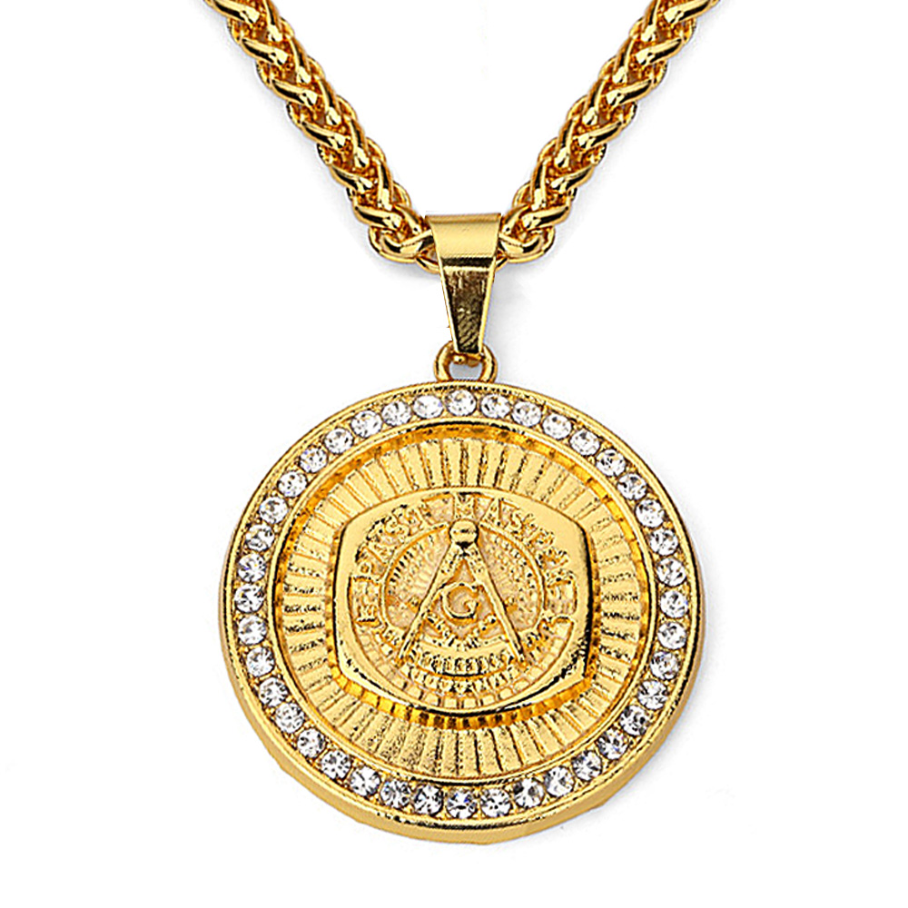 Masonic Pendant Necklace Men Hip Hop Jewelry 2017 Gold Plated Chain Freemason Necklace Fashion Mens Jewellery