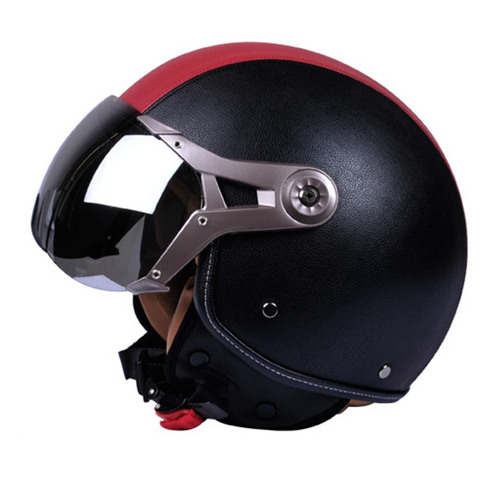 Retro Motorcycle Leather Helmet for Harley Motorcycle Electro-Mobile Leather retro motorcycle helmet vintage helmets 2018 brand black adult leather harley helmets for motorcycle retro half cruise helmet prince motorcycle helmet dot approved