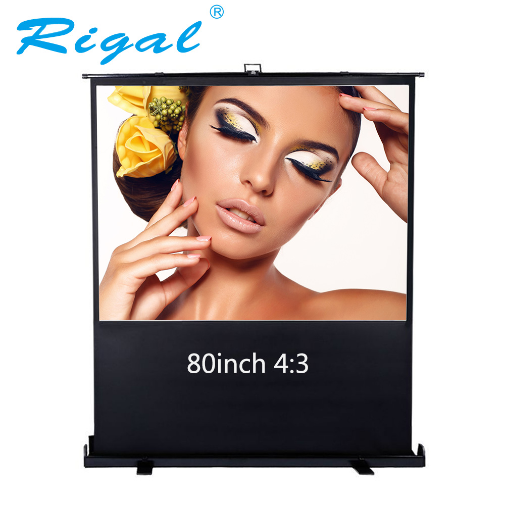 Rigal 80 inch Diagonal 4:3 Projector Screen Portable Floor Up Manual Pull up Screen Home Theater Office Projection Screen 84 inches 4 3 screen white plastic bead screen screen the truth of the manual projector projector screen