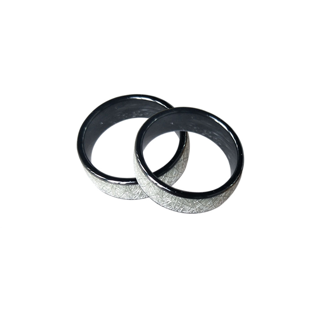 125KHZ Or 13.56MHZ RFID Ceramics Smart Finger Bright Silver Ring Wear For Men Or Women