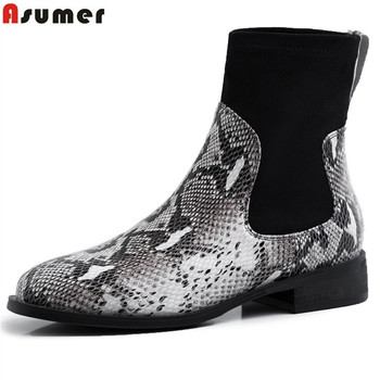 ASUMER size 34-40 fashion ankle boots for women autumn winter genuine leather boots low heels shoes slip on ladies boots 2020