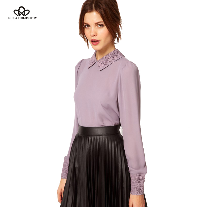 Summer New Retro Vintage Beaded Embroidery Collar Angle Hem Violet Lavender Purple Pink Women Chiffon Blouse Shirt Top