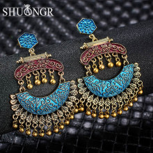 Shuangr India Jhumka Gypsy Sieraden Kleine Bells Lange Tassel Drop Pendientes Oorbellen Messing Tribal Nepal Gypsy Sieraden(China)