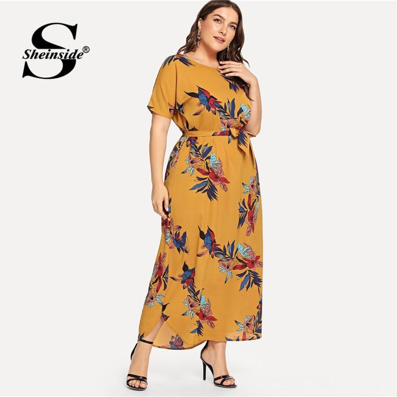 Sheinside Plus Size Casual Floral Print Belted Dress Women 2019 Summer Short Sleeve Straight Maxi Dresses Ladies Chiffon Dress