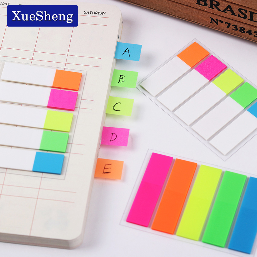 1 Pack (100 Small Pages) Cute Colored Memo Pad Bookmark Marker Memo Flags Sticky Notes Office Supplies