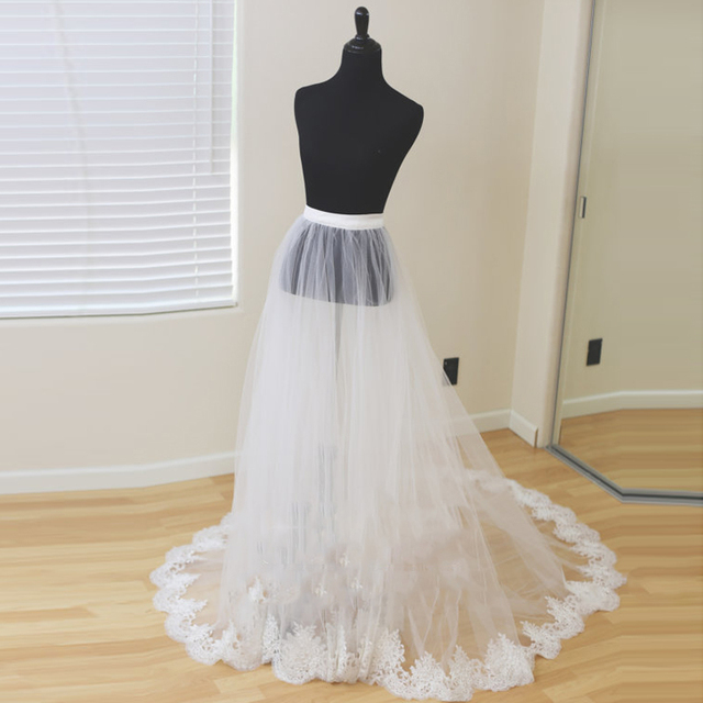 dcd23192ac29e7 Detachable Bridal Skirt Wedding Overskirt 2 Layers Removable Tulle Skirt  with Lace Appliques Edge Custom Bridal Tulle Overskirt