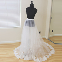 Detachable Bridal Skirt Wedding Overskirt 2 Layers Removable Tulle Skirt with Lace Appliques Edge Custom Bridal Tulle Overskirt