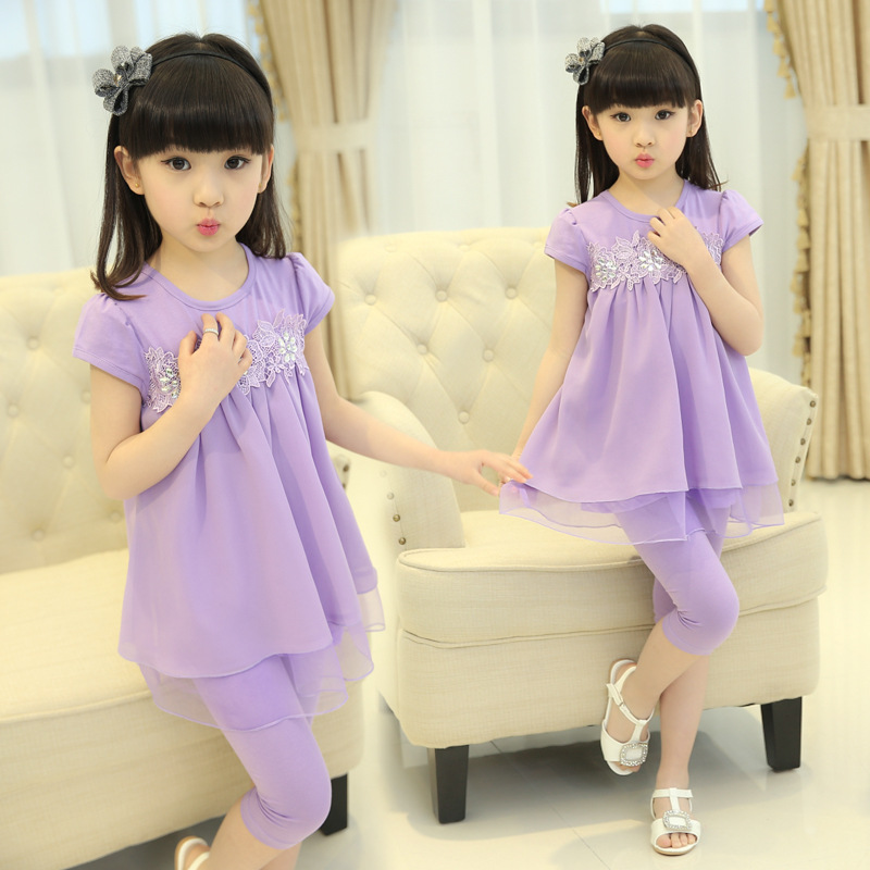 Girls New Summer Suit for Children Cotton Suit Two Piece Korean Kids Clothing Lace Mesh Pink Green Purple Rose Red