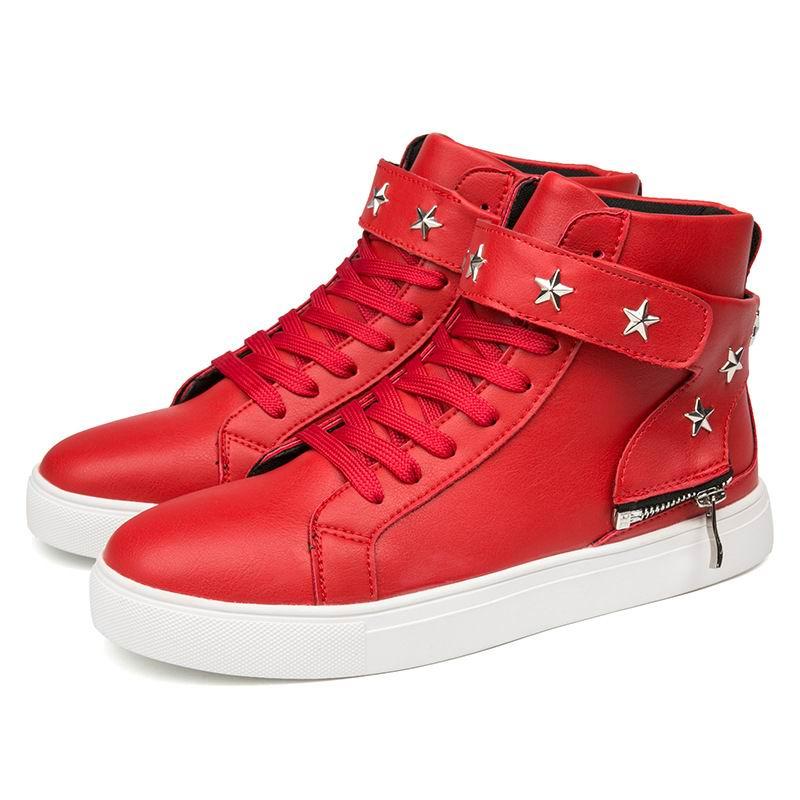 Homens Lace Top Rebites De Preto Hoop Sapatos vermelho Up Alta Tamanho Tendências Loop Preto 39 Lazer branco Red Zapatos Moda Errfc Casual Nova 44 A0F7tqn6