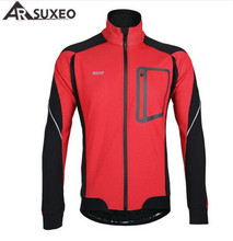 ARSUXEO Winter Thermal Fleece Clothing Windproof Waterproof Long Sleeve Cycling Jersey Wear Reflective Sports Jacket