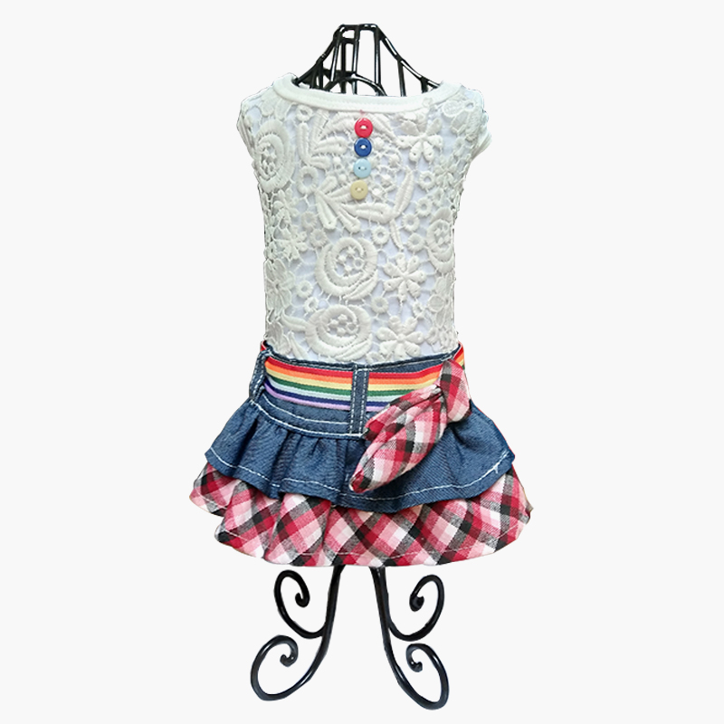 Lovely Pet Dog Clothing Cute Fashion Lace Denim Plaid Dog Dress Small Dog Clothes Puppy Dog Skirts Clothes New