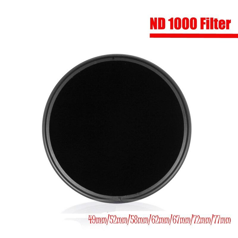 Нейтральные фильтры нейтральной плотности ND1000 49 мм 52 мм 55 мм 58 мм 62 мм 67 мм 72 мм 77 мм 82 мм 95 мм для фотоаппаратов Canon Nikon Sony