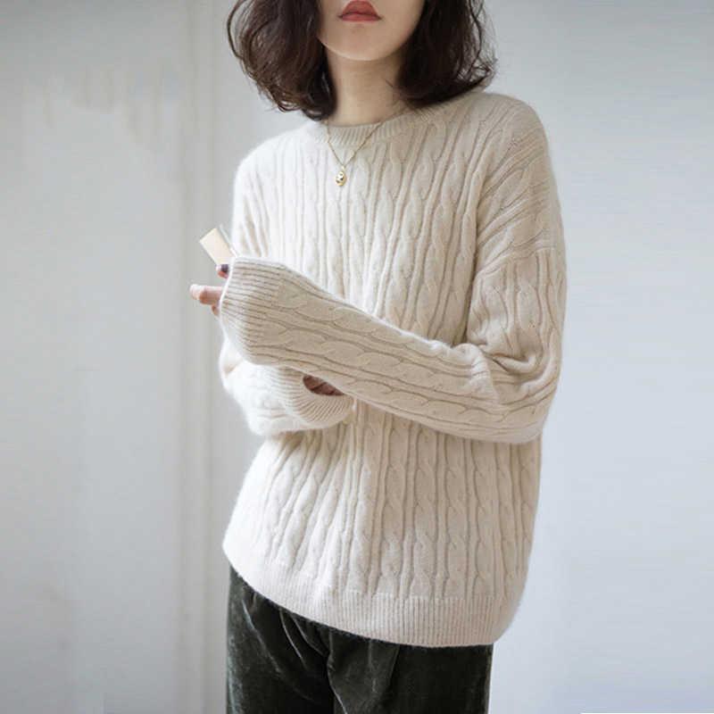 Winter sweater 2019 women round neck cashmere sweater female thicken sweater new twist pattern bottoming warm knit pullover
