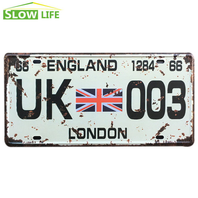 Uk 003 Car Metal License Plate Tin Sign Vintage Home Decor Bar Garage