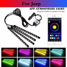 car styling Car RGB Strip Light Flexible Atmosphere Lamp Decorative Control For Jeep Liberty Renegade Wrangler Commander