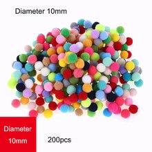 New! 200pcs/lot Pompom 10mm Mini Fluffy Soft Pom Poms Pompones Ball Furball Handmade Crafts DIY for Home Decor Sewing Supplies