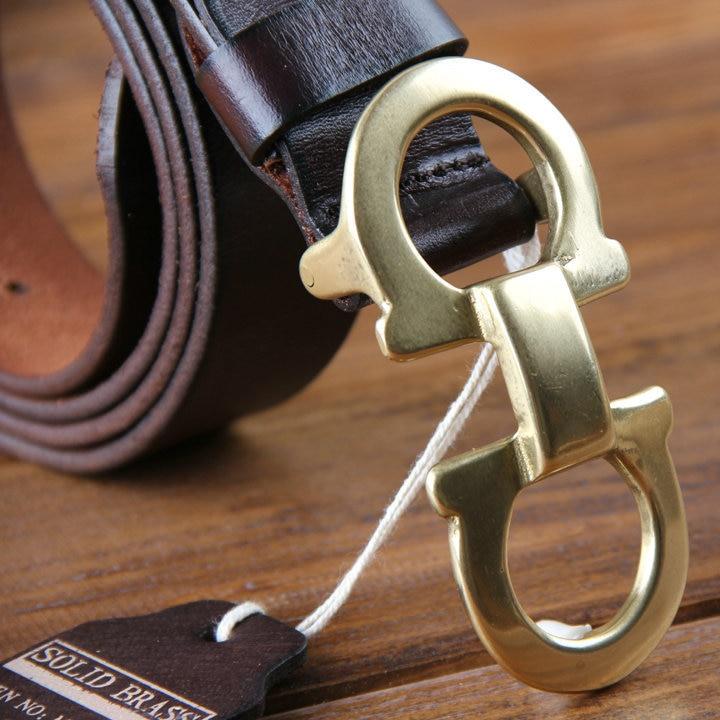 Genuine Leather Mens Belts Luxury Men Belt font b Solid b font font b Brass  b a447c596fcc