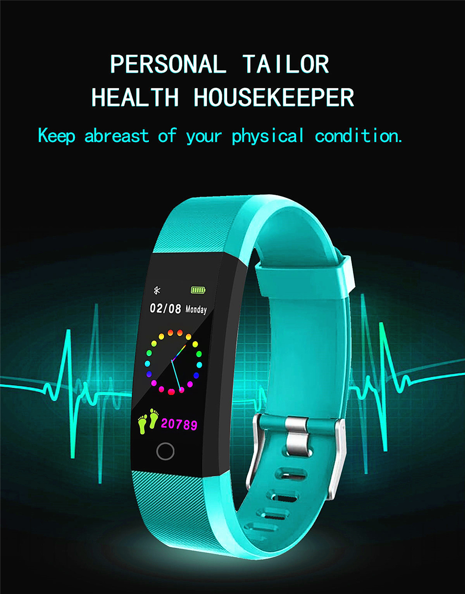 Fitness Tracker bracelet pressure measurement pedometer Smart band Heart rate monitor IP68 Waterproof smartwatch For Android ios xiaomi band 01