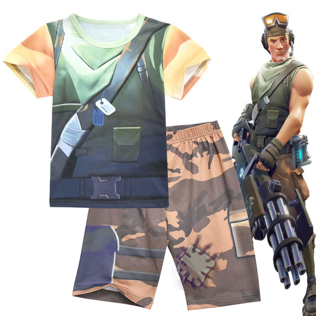 Kids Cosplay Fortnite Costume 2 Piece Set Suits T Shirt And Shorts
