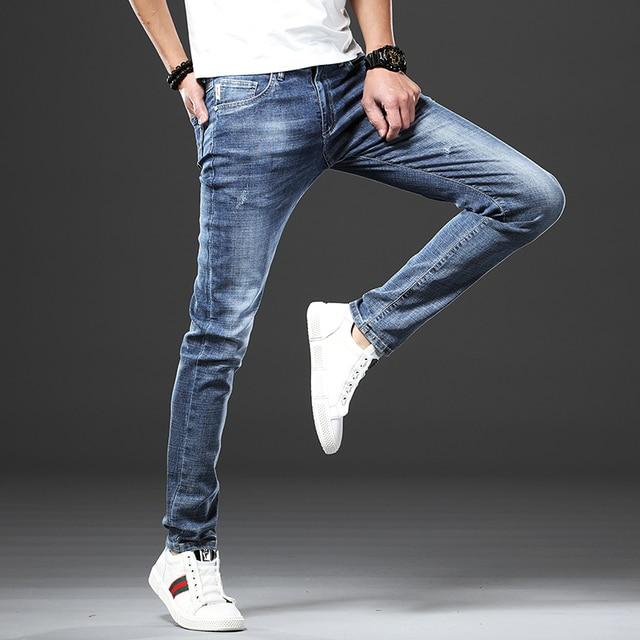 Jantour Skinny Jeans men Slim Fit Denim Joggers Stretch Male Jean Pencil Pants Blue Men's jeans fashion Casual Hombre new 5