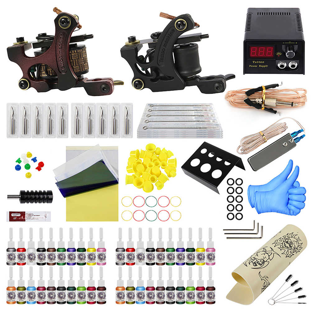 Volledige Set Professionele Tattoo Machine Kit Sets 2 Coil Machines Tattoo Naalden voor Body Art 40 Kleuren Inkt Voeding
