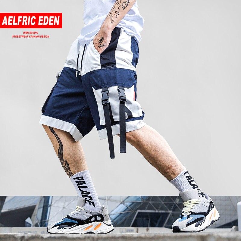 Aelfric Eden Color Block Knee Length Short Jogger 2019 Summer Cargo Shorts Ribbon Letter Print Streetwear Hip Hop Sweat Shorts