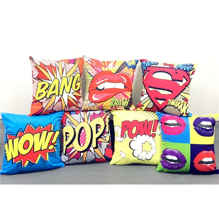 color graffiti rock and roll style cushion covers letters pop wow pow bang superman print pillow