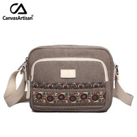 New Arrival Cotton Printed Women Handbags Leisure Canvas Men Travel Bags Retro Single Shoulder Bags Soft